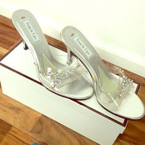 New Clear rhinestone embellished open toed heels